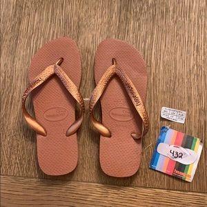 Havaianas, 35-36, copper, wide strap, new